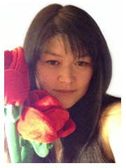 face portrait of samantha Lim with giant plush roses